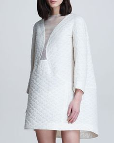Quilted Illusion-Neck Cocoon Dress by Theyskens Theory