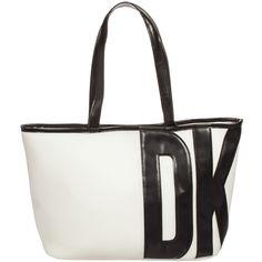 Girls Ivory & Black Tote Bag (40cm), DKNY, Girl