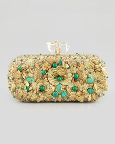 Marchesa Lily Floral Embroidered Box Clutch, Gold/Green