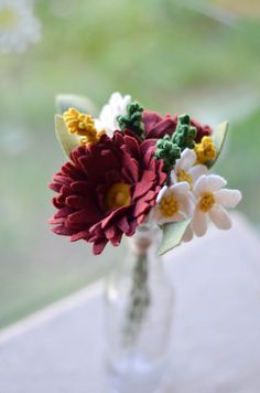 Peony Wildflower & Daisy Felt Flower Bouquet / by LeaphBoutique