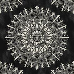 Vintage Mandala on black-by Groovity-Art Print- at Society6.com