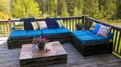 holz paletten möbel couch idee terrasse blau polster