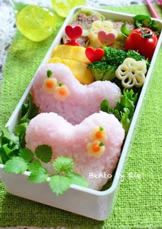 Pink Heart Bento Bento by Rie