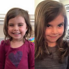Monat Testimonial: So I have been using MONAT on my daughter since August 2015. These two pictures are a year apart from each other! I love how healthy her hair has stayed!