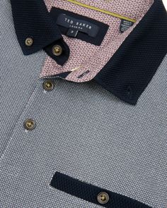 Printed polo - Navy | Tops & T-shirts | Ted Baker UK