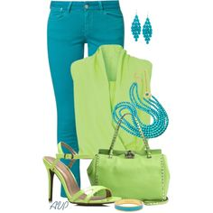Two Toned - Turquoise and Lime, created by amy-phelps on Polyvore