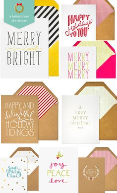 Letterpress Holiday Cards by Sugar Paper - Love the yellow and navy