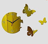 Стикеры круг с бабочками часы зеркальный золото черный