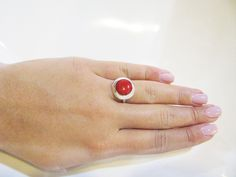 Coral ring,Sterling silver ring,Adjustable ring,Unique coral Jewelry ,Silver ring,coral Jewelry ,Marce birthday stone,Red Ring,Red Jewelry by IrisSilverJewelry on Etsy
