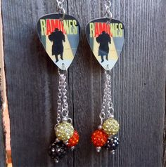 The Ramones Pleasant Dreams Guitar Pick Earrings with Pave Bead Dangles by ItsYourPickToo on Etsy
