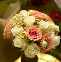 Personalize your bouquet with vintage pieces , designed by Lilypots of Lake Geneva.