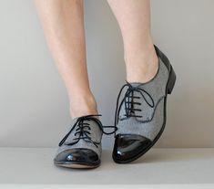 Herringbone & patent oxford shoes by @yn GOLDEN