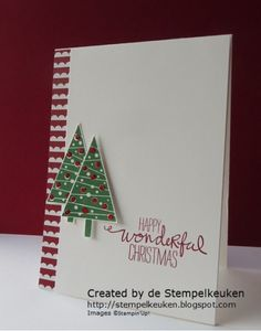 Angelique's CAS card: Festival of Trees, Wondrous Wreath, Trim the Tree dsp stack, Tree Punch, & more. All supplies from Stampin' Up! Homemade Christmas Cards, Stampin Up Christmas, Christmas Cards To Make, Noel Christmas, Xmas Cards, Handmade Christmas, Homemade Cards, Holiday Cards, Christmas Crafts