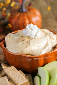 This Fluffy Pumpkin Pie Dip delivers tons of fall flavor in a fluffy no bake dip! Pumpkin & warm spices combined with a rich creamy base makes the perfect dip for apples, bananas and more!