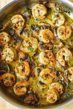 Pesto Shrimp with Mushrooms