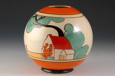 A unique to date and fantastic 370 'Globe' vase in Red roofs. This is a sought after landscape design on an equally sought after shape, a perfec Vintage Gifts, Retro Vintage, Clarice Cliff, Red Roof, Vintage Ceramic, Landscape Design, Vases, Globe, Restoration