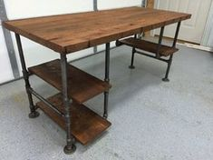 "Reclaimed Wood Desk Table - Rustic Solid Oak W/ 28"" Black Iron Pipe…"