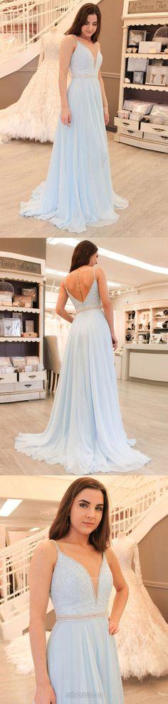 Blue Prom Dresses, Long Prom Dresses, 2018 Prom Dresses For Teens, A-line Prom Dresses V-neck, Chiffon Prom Dresses Beading
