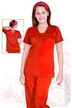 Womens Elegant Silk Lace Trimmed Pajama Set - Sleepwear