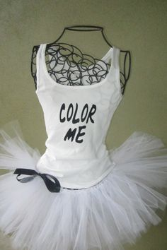Running Tutu: Color Run Inspired Custom Racing Tank and Pixie Length (9 inch) Tutu. $54.95, via Etsy.