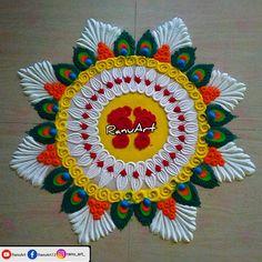 Rangoli Designs Simple Diwali, Happy Diwali Rangoli, Simple Rangoli Border Designs, Rangoli Designs Latest, Rangoli Designs Flower, Free Hand Rangoli Design, Small Rangoli Design, Rangoli Kolam Designs, Colorful Rangoli Designs