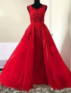 Evening Dresses Long, Prom Dress With Appliques, Red Evening Dresses, Custom Made Evening Dresses, Prom Dress A-Line Prom Dresses Long Senior Prom Dresses, A Line Prom Dresses, Beautiful Prom Dresses, Dance Dresses, Formal Dresses, Long Dresses, Wedding Dresses, Red Lace Prom Dress, Lace Evening Dresses