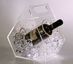 CLEAR ICE - ice bucket for wine bottles made of transparent plexiglass - cooled bottle of wine without getting wet Lucite Furniture, Acrylic Furniture, Art Deco Furniture, Furniture Deals, Wine Bucket, Bottle Holders, Plexus Products, Decorative Accessories, Wine Rack