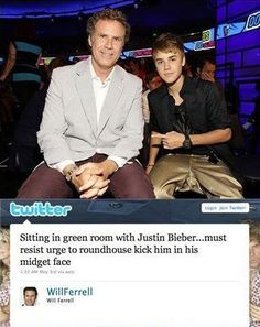 Will Ferrell and Justin Bieber.I love you will ferrell Will Ferrell, Haha Funny, Funny Memes, Funny Stuff, Funny Shit, Funny Things, Random Stuff, Funny Tweets, Funny People