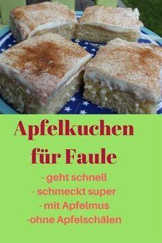 Statt Äpfeln verwenden wir bei diesem Kuchen einfach Apfelmus: So schnell habt Ihr noch nie einen köstlichen Apfelkuchen hinbekommen. Mmmmh!
