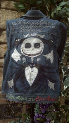 Jack Skellington demin jacket Hand painted and by LooksFromBooks, $50.00