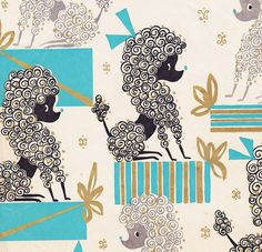 vintage poodle wrapping paper
