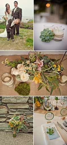 the succulents + burlap/jute + other pretty flowers make for some gorgeous centerpieces