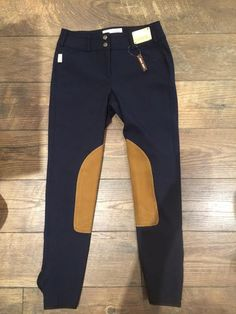 Tailored Sportsman Navy with Tan Knee Patch Breeches Low Rise Front Zi | The Tack Shoppe of Collingwood