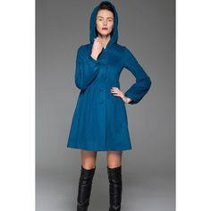 Blue Swing Coat Hooded Fit & Flare Short Winter Jacket With Lantern... ($159) ❤ liked on Polyvore featuring outerwear, coats, black, women's clothing, trapeze coat, single-breasted trench coats, hooded swing coat, short swing coat and blue swing coat