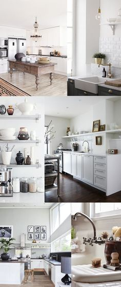 Kitchen-Inspiration:  - Subway tile below shelves - White cabinets with darker counter tops - Clean lightbulb light fixtures - built in sponge/drain platform next to sink