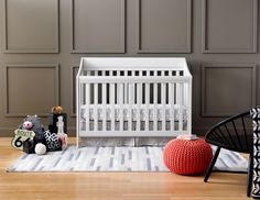 The Starri 4-in-1 Convertible Crib in Warm Grey is a contemporary sleigh with sophisticated detailing that grows with your baby. #Urbini #BabyGear #Nursery #Kidsdecor #UrbiniDreamNursery