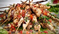 HCG Diet - Basil Chicken Skewers with Roast Tomato Relish Teriyaki Chicken, Marinated Chicken, Grilled Chicken, Teriyaki Skewers, Unique Recipes, Ethnic Recipes, Hcg Diet Recipes, Tomato Relish, Basil Chicken