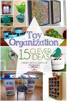 15 toy organizing hacks for the kids room Enjoy 15 easy organization hacks to keep your children's toys under control! Toy organization for a tidy home has never been easier. Dollar Tree Organization, Storage Organization, Lego Storage, Storage Ideas, Bath Storage, Organization For Kids Toys, Kids Playroom Storage, Creative Toy Storage, Childrens Toy Storage
