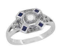 Unique square Diamond Engagement Rings | Art Deco Square Sapphires and Diamond Engraved Engagement... | review ...