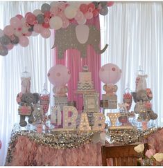 Baby Shower Elephant Theme Boy Kids 67 Ideas For 2019 Fotos Baby Shower, Grey Baby Shower, Baby Shower Gender Reveal, Baby Girl Elephant, Elephant Theme, Pink Elephant, Girl Baby Shower Decorations, Baby Shower Themes, Shower Ideas