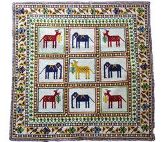 glass beaded square with chakla Indian Embroidery, Beaded Embroidery, Cross Stitch Embroidery, Hand Embroidery, Preparing For Marriage, Marriage Preparation, Indian Textiles, Tribal Art, Craft Work