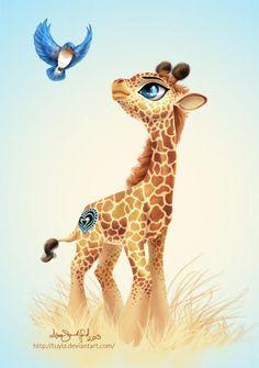 Commission - Giraffe MLP style by PaintedHoofprints on DeviantArt Giraffe Drawing, Giraffe Painting, Giraffe Art, Cute Giraffe, Giraffe Pictures, Animal Pictures, Cute Pictures, Giraffe Tattoos, Baby Giraffe Tattoo