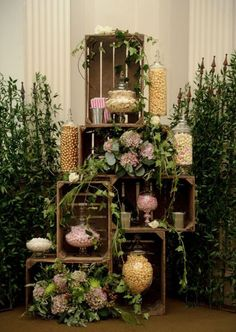 vintage wedding dessert table with popcorn