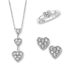 Diamond Heart Jewelry Set in 10K White Gold