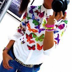 Weiße Blumen Schmetterling Print Umlegekragen Langarm Bluse Outfit Oberteil Unterziehshirt Damen Mode