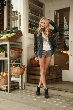 Love the shorts and the layered look of the jean shirt and the leather jacket.  #JoieCoasttoCoast