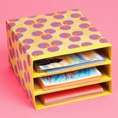 Cereal boxes + scrapbook paper = paper organizer! This blog has a whole post of teacher hacks!
