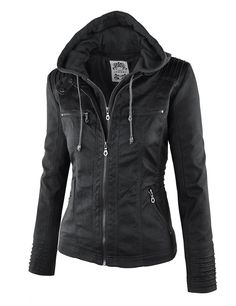 20be3a974d4 LL Womens Removable Hoodie Motorcyle Jacket XXL BLACK at Amazon Women s  Coats Shop Pu Jacket