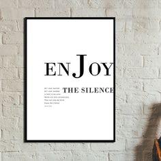Geniet van de stilte Poster. Direct downloaden. Kunst aan de muur. Abstracte kunst. Print art. Moderne kunst. Typografie Poster. Digitale kunst.