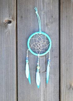 Small Dreamcatcher -Blue and White - Wall hanging - Car Mirror Decor on Etsy, $15.00